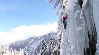 Holidaymaker Sally Pearson ice climbing in Le Buet, France