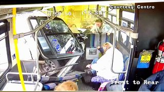 The moment a pick up truck slammed into a bus in Syracuse