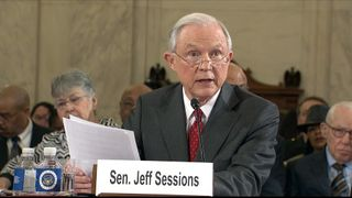 Senator Jeff Sessions being questioned at his nominee hearing