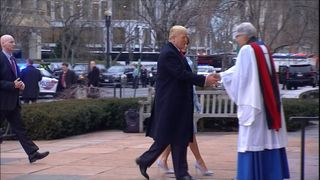 Donald Trump arrives at church before his inauguration as US President