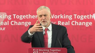 Jeremy Corbyn answers questions in Peterborough