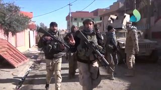 Iraqi troops in Hadba, northern Mosul, as Iraq's special forces reach the Tigris for the first time. Pic YouTube/Al-Mawsleya via Storyful