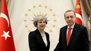 Theresa May and Recep Tayyip Erdogan meet for trade talks