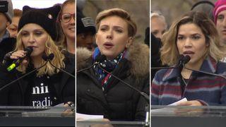 Celebrities protest after Donald Trump's inaugurantion including Modonna, Scarlett Johansson and America Ferrera.
