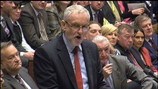 Jeremy Corbyn asks the Prime Minister a question in the Commons