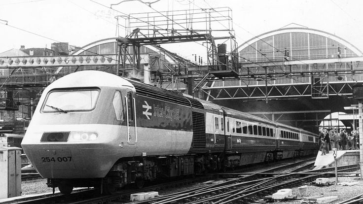 A London to Edinburgh train pulls out of King's Cross station in 1978