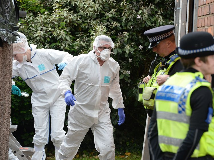 Forensic teams at a property in York in 2014