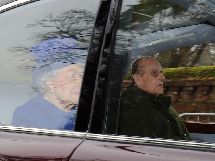 The Queen and the Duke of Edinburgh arrive at Church in Sandringham
