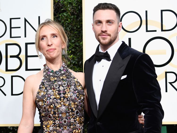 Director Sam Taylor-Johnson and actor Aaron Taylor-Johnson attends the 74th Annual Golden Globe Awards at The Beverly Hilton Hotel on January 8, 2017 in Beverly Hills, California