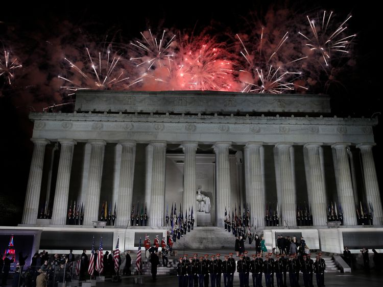 Inauguration celebrations kicked off with fireworks and live music at the Lincoln Memorial last night