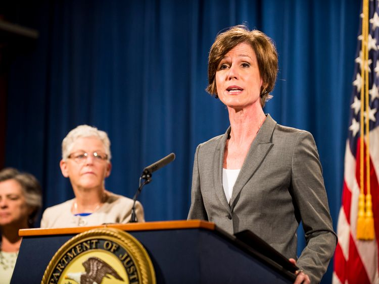 Environmental Protection Agency Administrator Gina McCarthy looks on as Deputy Attorney General Sally Q. Yates speaks during a press conference at the Department of Justice on June 28, 2016