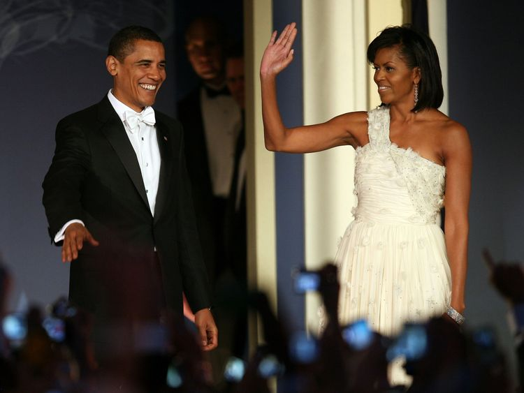 Barack Obama and his wife Michelle Obama at an inauguration ball after in 2009
