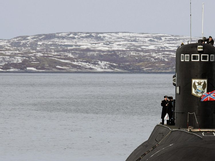 A Russian submarine patrols near Murmansk