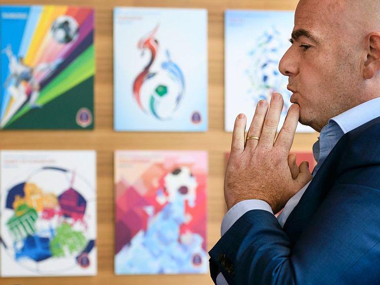 Gianni Infantino speaking at FIFA's Zurich HQ