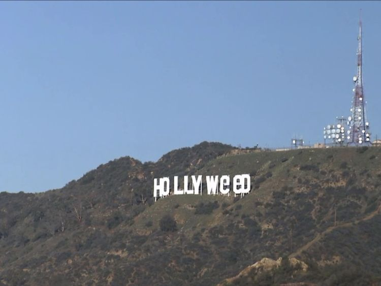Hollywood? It's Hollyweed now, or so the sign says...
