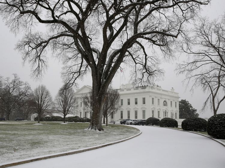 The White House driveway is covered in snow in Washington, U.S., January 7, 2017