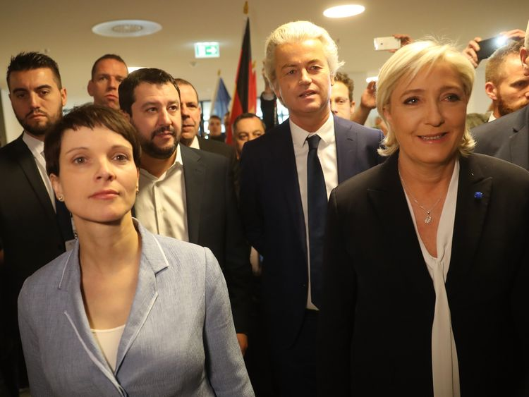 Frauke Petry, Matteo Salvini, Geert Wilders and Marine Le Pen at a conference of Europe's nationalists
