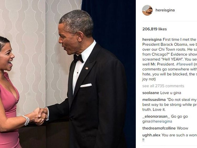 Actress Gina Rodriguez spoke of the time she first met the President and 'bonded over Chi Town roots'