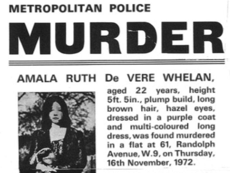 Metropolitan Police notice about Amala Ruth De Vere Whelan Metropolitan Police/PA Wire