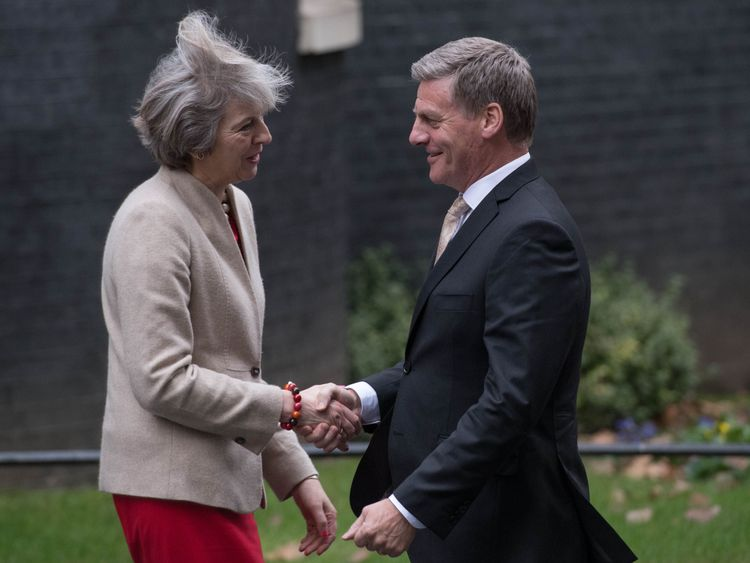 Prime Minister Theresa May greets New Zealand Prime Minister Bill English in Downing Street