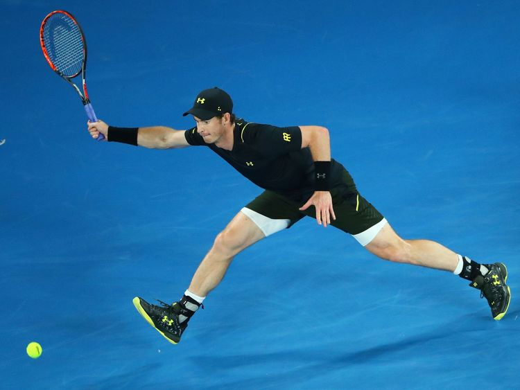 MELBOURNE, AUSTRALIA - JANUARY 18:  Andy Murray of Great Britain plays a forehand in his second round match against Andrey Rublev of Russia on day three of