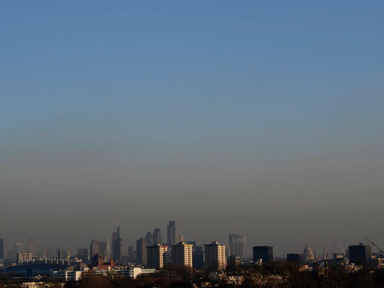 Smog across the London skyline on Tuesday