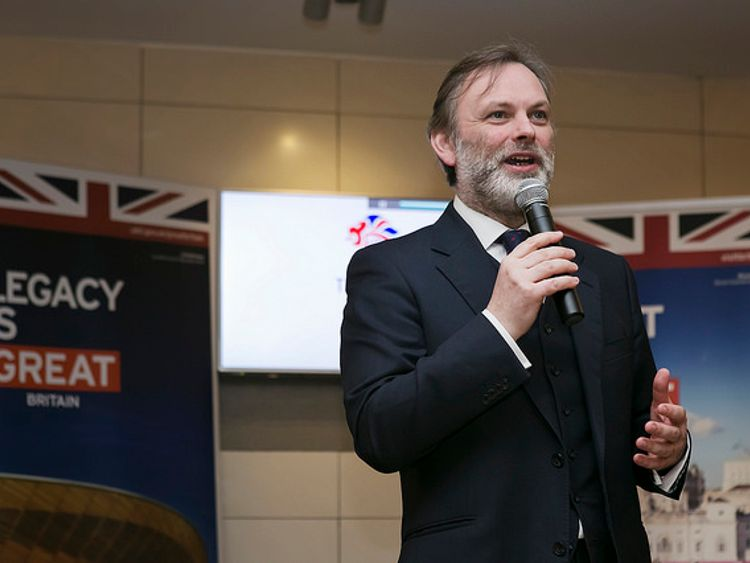 Sir Tim Barrow speaking at a Team GB event during the Sochi Olympics