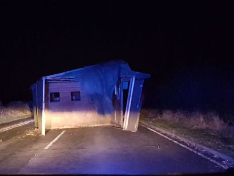 Strong winds blew a shed into a road in Gateshead, Tyne and Wear