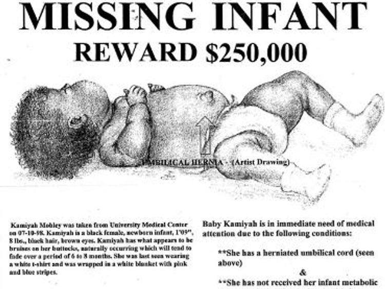 A $250,000 reward was offered for the baby's safe return