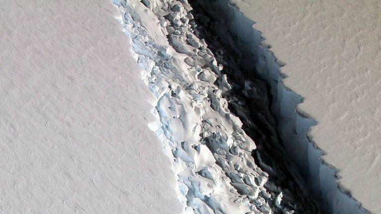 A birds eye view of the massive rift in the Antarctic Peninsula's Larsen C ice shelf