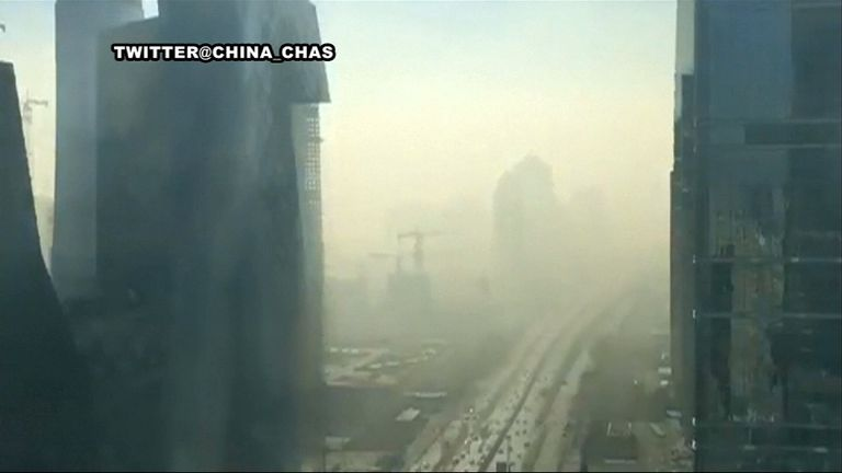 Smog rolling into Beijing. Pic: @china_chas