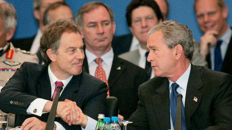 George W. Bush shakes hands with Tony Blair during the NATO Summit in Istanbul, Turkey, 2004