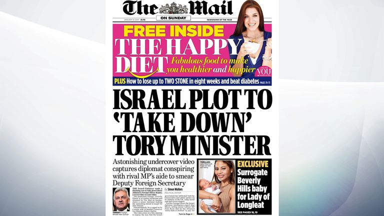 The Main on Sunday leads with an alleged 'Israeli plot' to 'take down' a Conservative minister