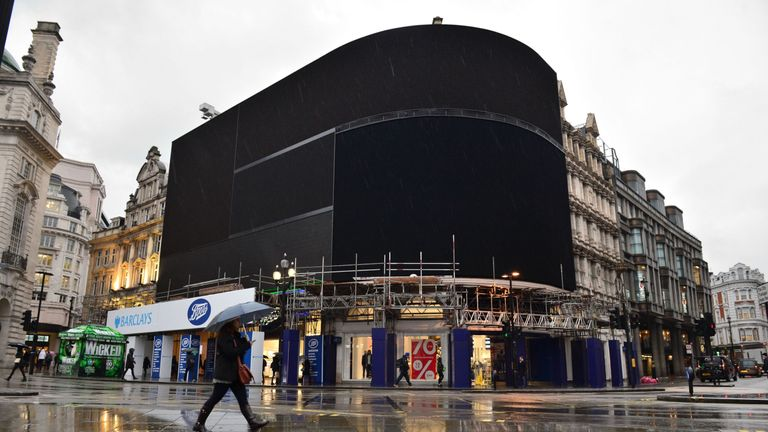 The advertising screens at Piccadilly Circus, central London, after they were switched off in preparation for redevelopment.