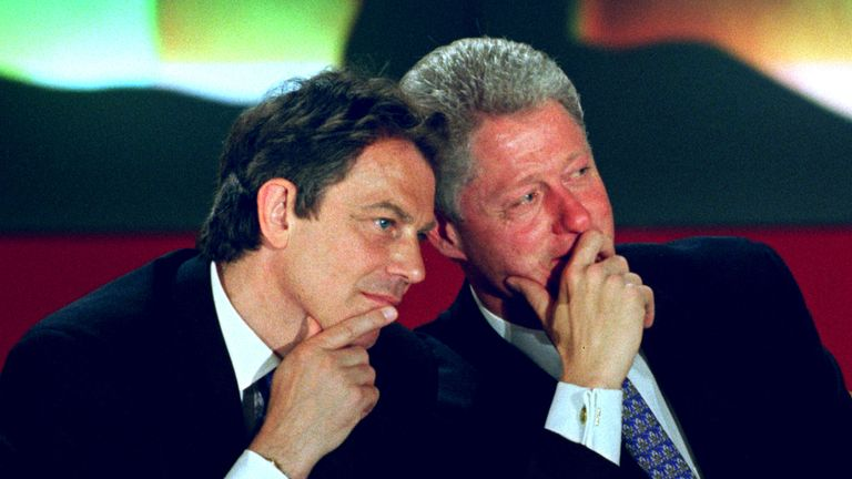 U.S President Bill Clinton and British Prime Minister Tony Blair in Paris, 1997