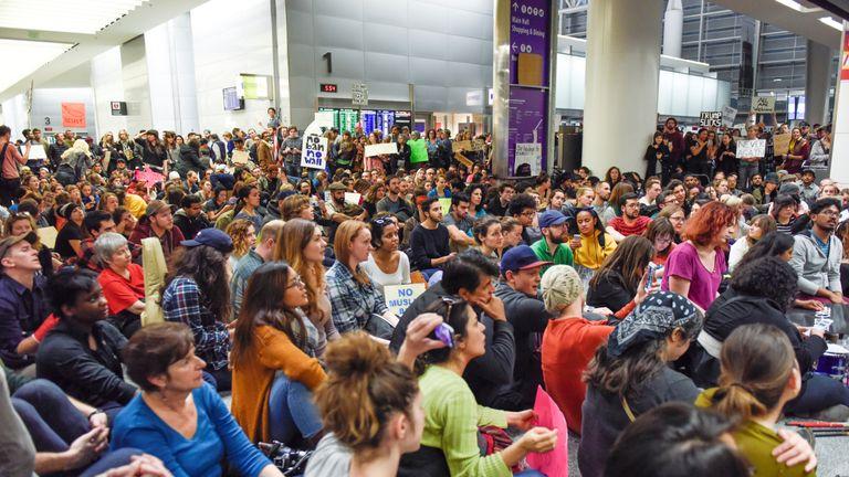 Demonstrators during anti-Donald Trump immigration ban protests in Terminal 4 at San Francisco International Airport in San Francisco, California