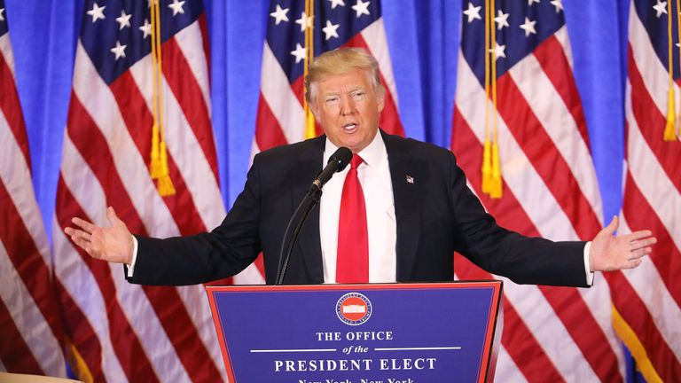 US President-elect Donald Trump gives a press conference January 11, 2017 in New York. Donald Trump is holding his first news conference in nearly six months Wednesday, amid explosive allegations over his ties to Russia, a little more than a week before his inauguration