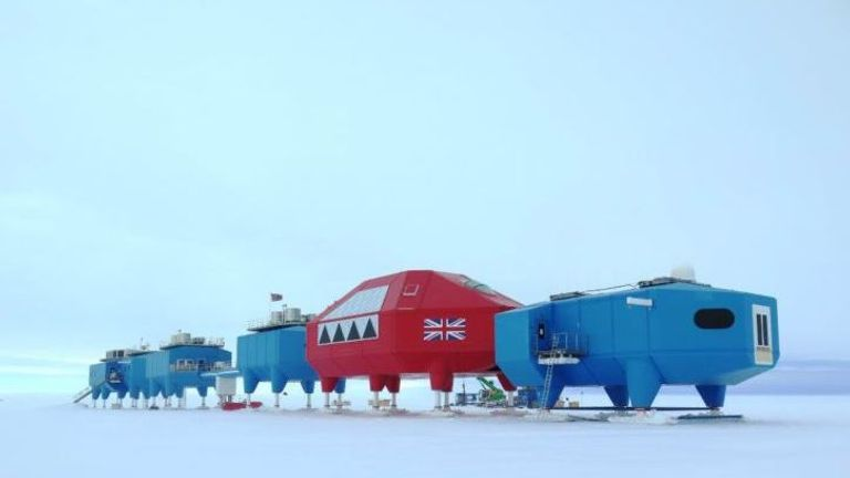 The Halley VI research station is made up by a series of pods. Pic: BAS