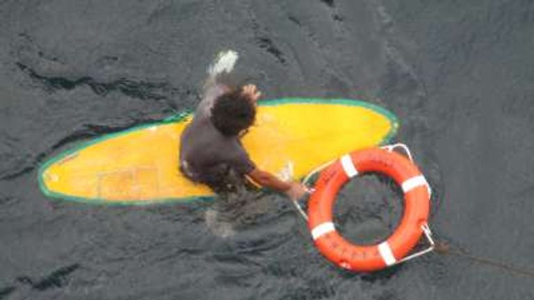 The surfer was unable to beat the waves to get back to shore
