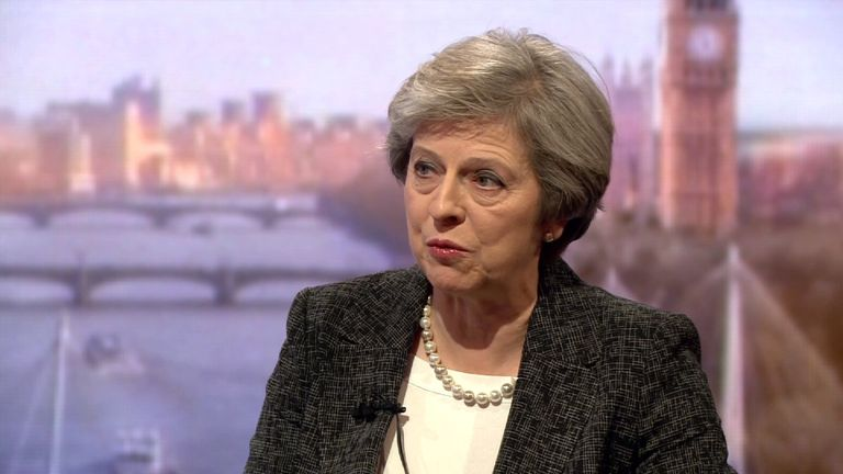 Theresa May on The Andrew Marr programme