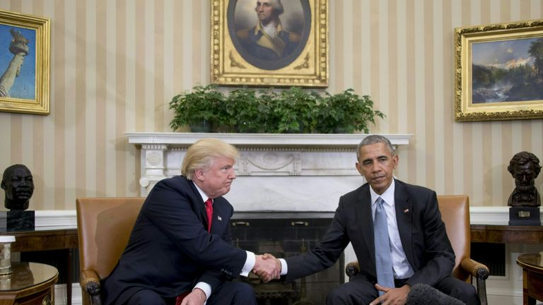 That awkward moment: Donald Trump and Barack Obama shake hands