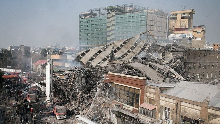 The rubble of the Plasco building in Tehran after it collapsed