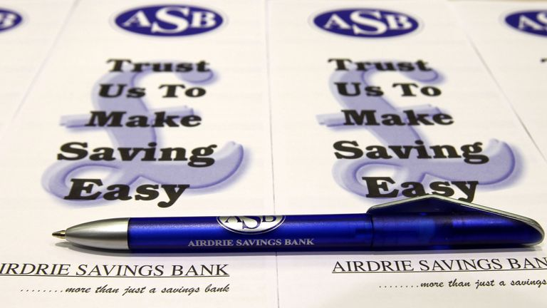 File photo dated 22/09/11 of Airdrie Savings Bank branded equipment, as the UK's last remaining independent savings bank is to close down.