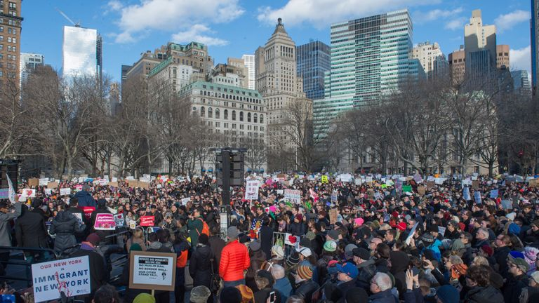 Mayor Bill de Blasio speaks as protesters gather in Battery Park and march to the offices of Customs and Border Patrol in Manhattan to protest President Trump's Executive order imposing controls on travelers from Iran, Iraq, Libya, Somalia, Sudan, Syria and Yemen, January 29, 2017 in New York