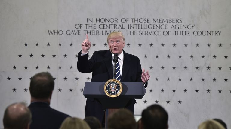 Donald Trump speaks at the CIA HQ