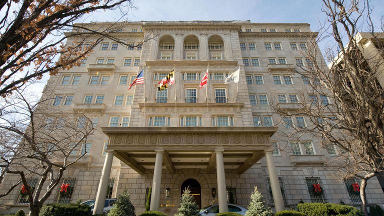The Hay-Adams Hotel near the White House in Washington, DC