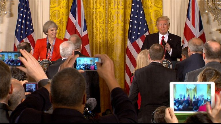 Theresa May and Donald Trump make opening statements at their first joint news conference