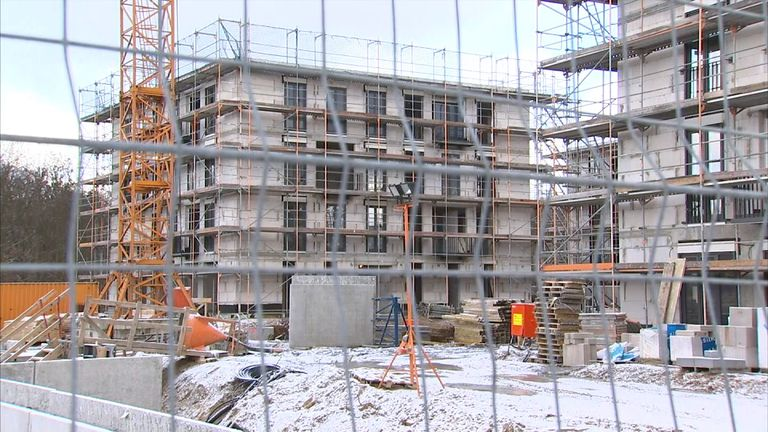 Quick build homes under construction in Germany