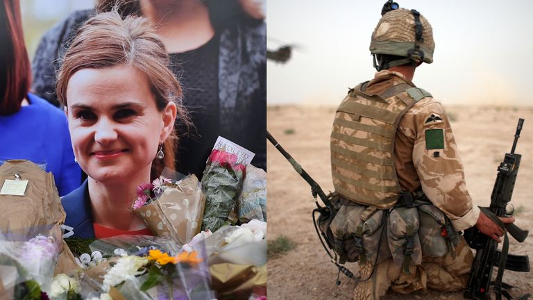 Jo Cox and a British soldier in Afghanistan