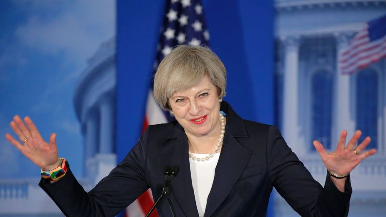 Theresa May speaks to leading Republicans in Philadelphia